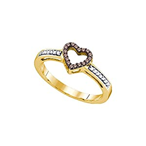 Size 7 - 10k Yellow Gold Round Chocolate Brown Diamond Heart Love Ring (1/10 Cttw)