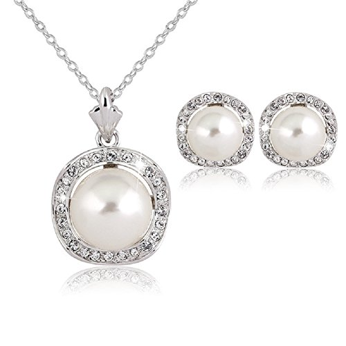 KAVANI Sliver Plated Pearl Pendant Necklace Earrings Set Jewelry Set for Women (Pearl Plated Set)