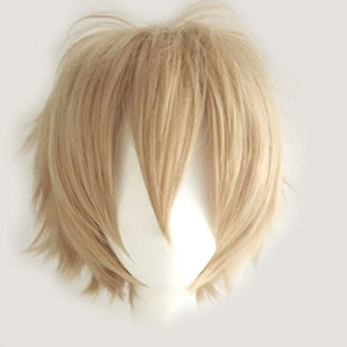 Women Mens Short Fluffy Straight Hair Wigs Anime Cosplay Party Dress Costume Wig (Linen Blonde)