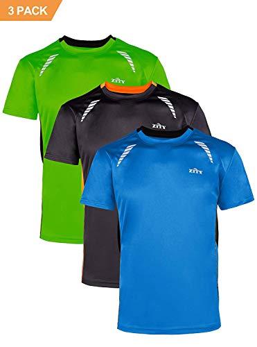for Men 3 Pack,Men's Sport Quick Dry Short Sleeves T-Shirt Green Orang Black XXL ()