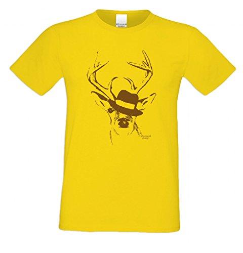 T-Shirt mit Motiv - Wiesn Hirsch mit Hut - Lustiges Outfit auch als Geschenk passend zum Oktoberfest in Gelb 3