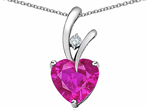 Star K Heart Shape 8mm Simulated Pink Tourmaline Endless Love Pendant Necklace Sterling Silver