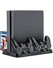 PS4 Vertical Stand, 3 IN 1 Compact PS4 Cooling Fan for Playstation 4 / PS4 / PS4 Pro / PS4 Slim, PS4 Charging Station with 16PCS Games Storage