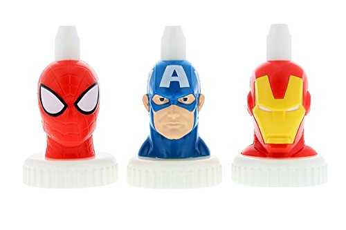 good2grow spill-proof bottle toppers 3-pack, Marvel- Spider-Man, Captain America & Iron Man