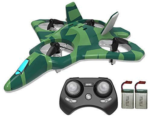 - ZEGO Upgraded F22 RC Drones for Kids and Beginner, Easy to Fly and Hover, RC Helicopter Quadcopter Fighter Jet with 360° Flip,LED Light Indication,4 Propellers and 2 Batteries.Gift Toys for Kids_Green