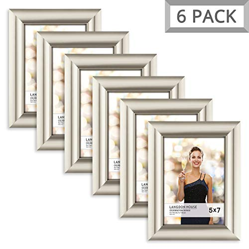 Langdons 5x7 Picture Frame (6 Pack, Champagne), Photo Frame 5 x 7, Wall Mount or Table Top, Set Of 6 Celebration Collection (Christmas Picture Frames 5x7)