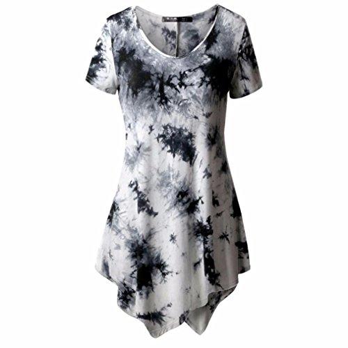 Leedford Plus Size Casual T Shirts, Girls Teens Womens Irregular Bandhnu Cute Sweetshirt Blouse Tops Short Sleeve (2XL, - Valentineday Date
