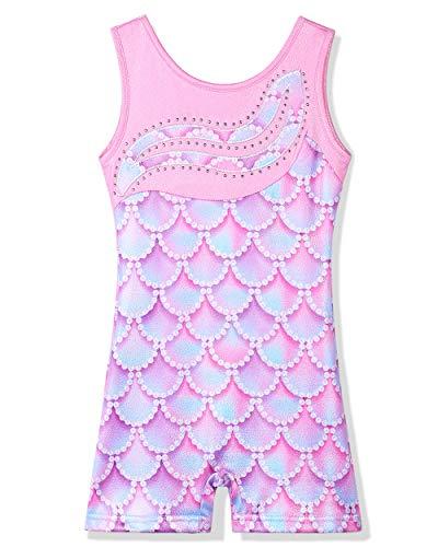 Leotard-for-Girls-Gymnastics-Toddler-Tank-Biketards-Shorts-Shiny-Scale-Diamond-Kids-Dancewear
