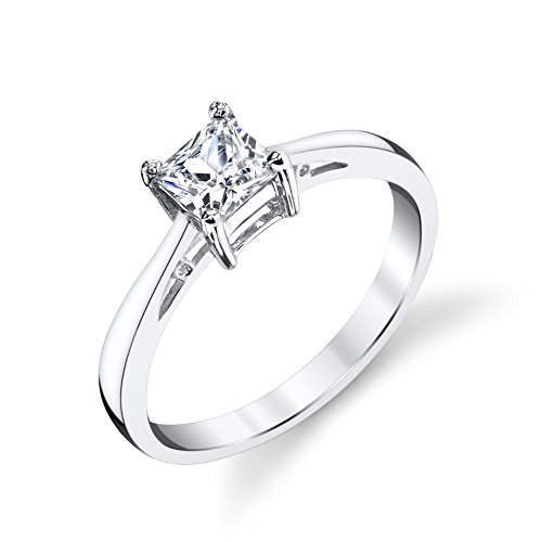 Polish Tapered Sterling High Silver (925 Sterling Silver Tapered Solitaire CZ Wedding Engagement Ring Size 8)