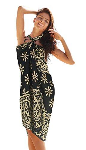 Pavinee's Sarong fot the beach women sarong wrap Star flower Black(23)