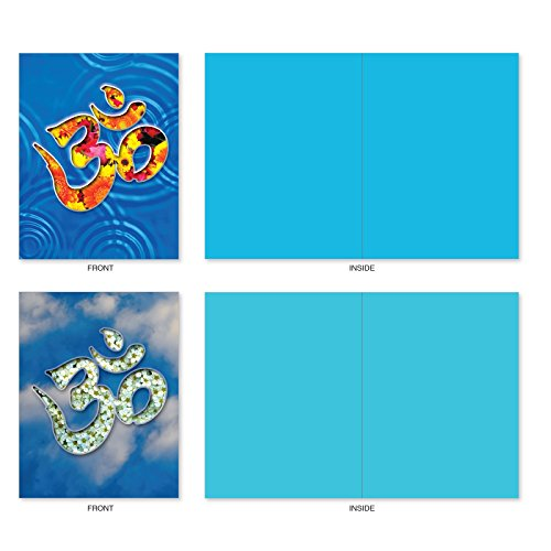 M3971 Om Blooms: 10 Assorted Blank All-Occasion Note Cards Feature a Universal Symbol for Peace and Serenity, w/White Envelopes. Photo #3