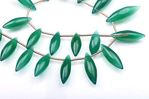 11 Inch Strand 17-25mm Emerald Green Onyx Smooth Dewdrops Shape Beads-Green Onyx Rice Beads by LadoNarayani