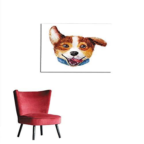 Wallpaper Watercolor Artistic Corgi Dog Portrait Isolated on