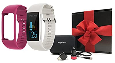 Polar A370 Fitness Band (White, Small) GIFT BOX Bundle | Includes Extra Band (Pink), PlayBetter USB Car/Wall Adapter, Protective Case | GPS Activity Tracker, Wrist-HR | Black Gift Box