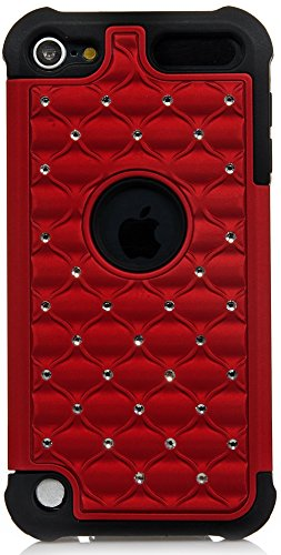 iPod Touch, iSee Case (TM) Hybrid Luxurious Lattice Dazzling Bling Bling Total Defense Dual Layer Combo Hard Soft Skin Gel Case For Apple iPod Touch 5 5th Generation itouch 5(it5-Hybrid Star Red on Black)