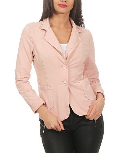 xl Blazer Zarmexx Per s Vintage Donna Basic Jacket Coat Con Bottoni Rosa Oxqnaxwvg