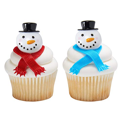 Baking Addict Cupcake Topper Decorations Cake Pop Dessert Decorating Picks 3D Snowman, Wholesale Case of 576 (8 Packs of 72)