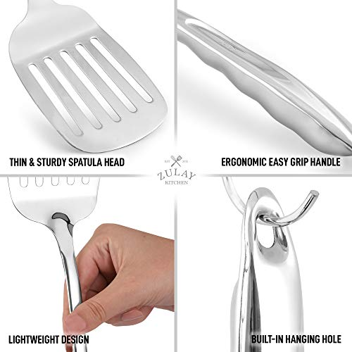 Zulay 14.8 inch Slotted Turner Metal Spatula - Heavy Duty Stainless Steel Spatula For Cooking With Ergonomic Easy Grip Handle - Grill Spatula For Frying, Cooking, Draining, And More