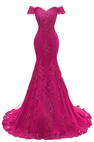 Shoulder Evening Gown Lace Mermaid Beading Sequins Appliques Prom Dresses Crystal Sweetheart Sleeves Rose Red ()