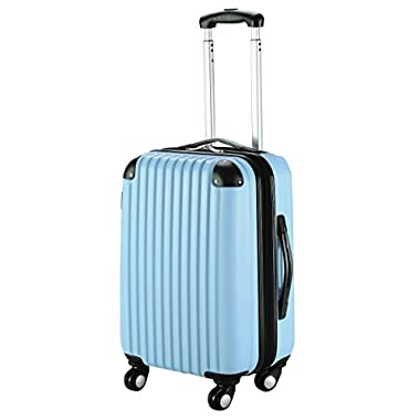 Goplus New GLOBALWAY 20  Expandable ABS Carry On Luggage Travel Bag Trolley Suitcase (Light Blue)