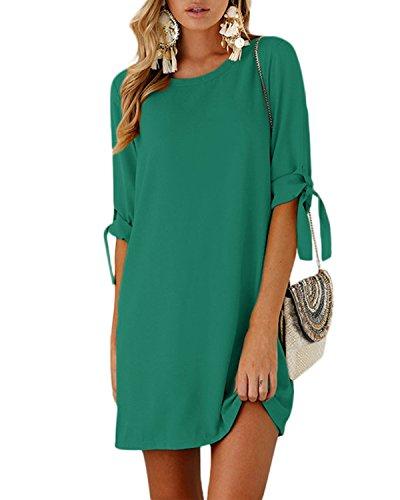 (YOINS Women Mini Dresses Summer T Shirt Solid Crew Neck Tunics Self-tie Half Sleeves Blouse Dresses Green XS)