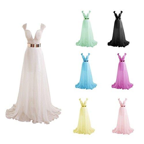 Hot Kleider Kleider Damen 2016 Chiffon V Lang Ball Ausschnitt tiefen Queen Strass Mintgrün ärmellos vr6fwv