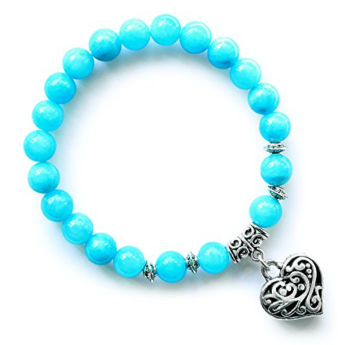 MHZ JEWELS Blue Jade 8mm Beads Stretch Heart Charm Pendant Bracelets Healing Chakra Stone Beaded Bracelet Gifts