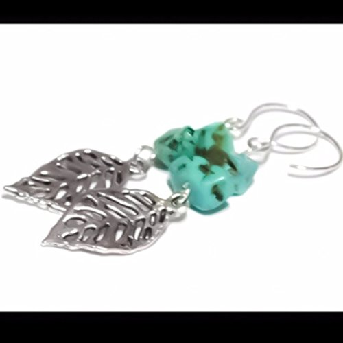 Leaf/Leaves Earrings Chinese Turquoise Nature Lover Filigree 925 Sterling Silver Silver Leaf Chips