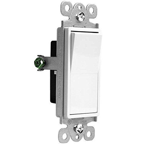 Enerlites 3-Way On/Off Rocker Light Switch 93150-White | 15 Amp, 120V/277V, Paddle, AC, Single Pole, 3 Wire, Grounding Screw, Residential Switch, UL Listed | White - 10 Pack by Enerlites (Image #2)
