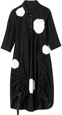 BINGQZ Casual Vestido Camisa Negra Falda Femenina de Siete Puntos Manga Larga Estampado Plisado Camisa Manga Vestido Primavera y Verano: Amazon.es: Deportes y aire libre