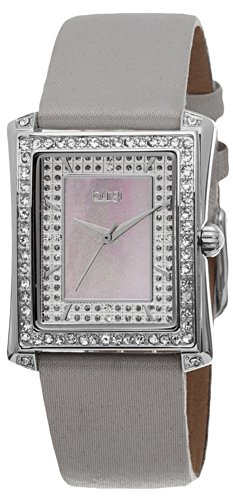 Burgi Women's BUR088GY Swiss Quartz Crystal Mother-of-Pearl Grey Leather Strap Watch