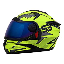 Steelbird SBH-17 Terminator Full Face Graphic Helmet (Medium 580 MM, Glossy Black Fluo Blue with Smoke Visor)