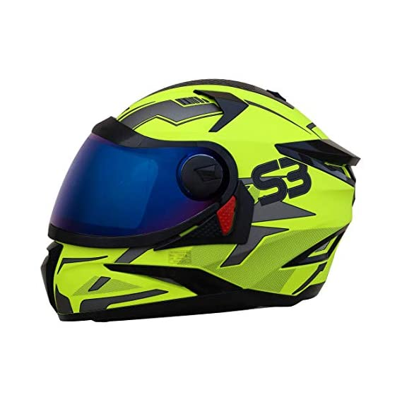 Steelbird SBH-17 Terminator Full Face Graphic Helmet (Medium 580 MM, Glossy Black Fluo Blue with Smoke Visor)
