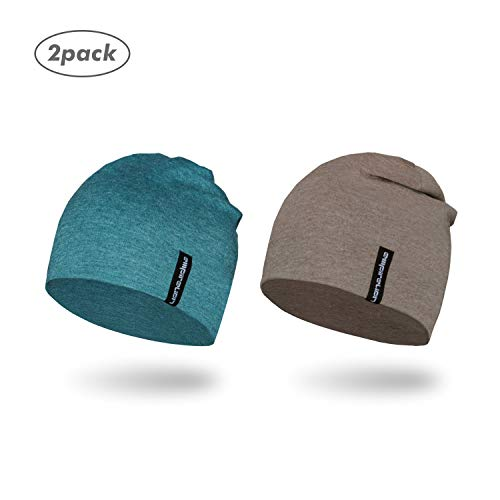 - Empirelion Slouch Beanies Knit Hat Thin Running Lightweight Skull Cap for Men Women (Brown Melange+Teal Green Melange)