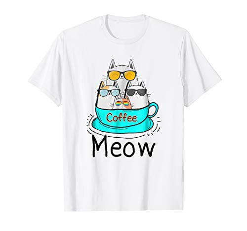 Cat coffee meow T-shirt -