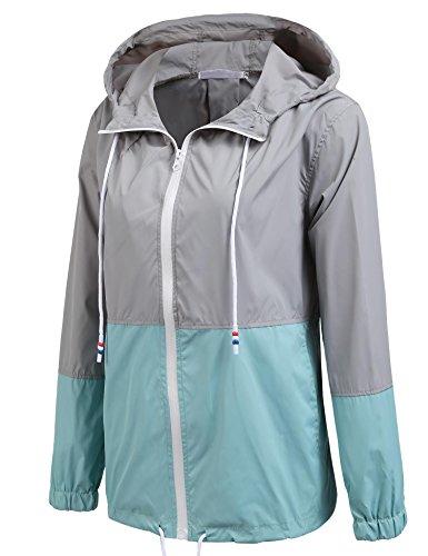 pluie 2 Imperméable vent Femme Capuche Coorun Coupe Bleu Vestes Anti Extérieure Pliable Léger À Randonnée De zCxZU1