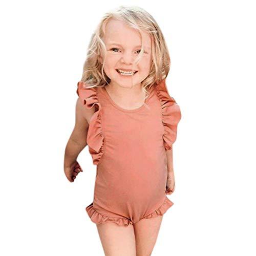 Weiliru Baby Girl Ruffle Swimsuit One-Piece Bathing Suit Bikini Toddler Swimwear Infant Beach Wear Pink ()
