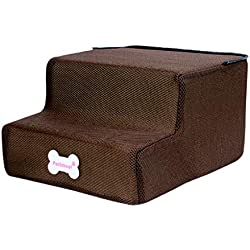 Dog Stairs by Cozy Pet - 2 Steps Folding Pet Stairs Ramp Ladder Removable Cover for Cats Dogs (C)