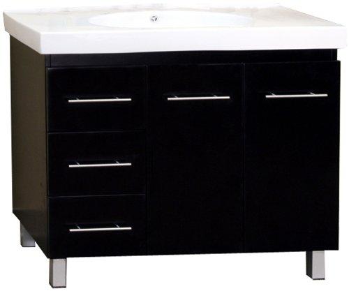 Bellaterra Home 203129-B-L 39-Inch Single Sink Vanity, Left Side Drawers, Wood, Black