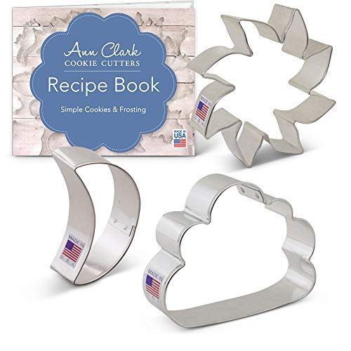 (Day & Night Sky Cookie Cutter Set with Recipe Booklet - 3 piece - Sun, Moon & Cloud - Ann Clark - USA Made Steel)