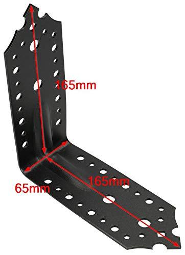 KOTARBAU connettore angolare 165 x 165 x 65 mm con scanalatura angolo di foratura angolo di costruzione in legno connettore angolo a barra connettore verniciato a polvere nero decorativo