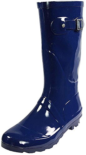 NORTY - Womens Hurricane Wellie Solid Gloss Mid-Calf Rain Boot, Navy 38735-8B(M) US