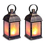 zkee 11' Vintage Style Decorative Lantern,Flame Effect LED Lantern,(Golden Brushed Black,4 Hours Timer) Indoor Lanterns Decorative,Outdoor Hanging Lantern,Decorative Lanterns