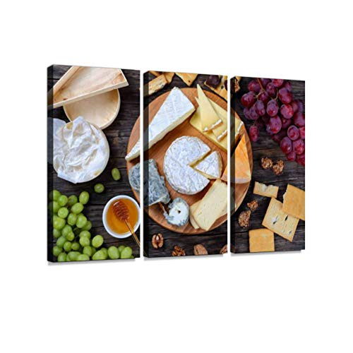 Set of Authentic French Cheese Plate Print On Canvas Wall Artwork Modern Photography Home Decor Unique Pattern Stretched and Framed 3 Piece