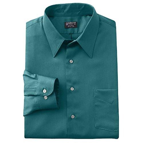 Arrow Men's Fitted Sateen Solid Point-Collar Dress Shirt (17.5-36/37, Green)