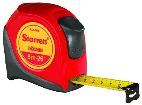 Starrett Exact KTX1-8M-N ABS Plastic Case Red Measuring Pocket Tape, Metric Graduation Style, 8m Length, 25.4mm Width, 1.58mm Graduation Interval