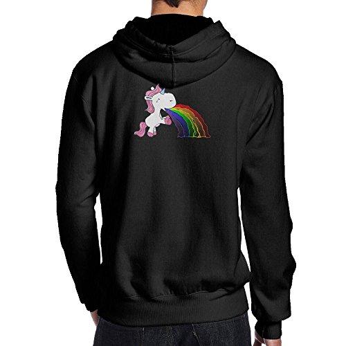 男の子 後ろ印刷 パーカー スウェットシャツ ユニコーン 吐き出す 虹 大人気 登山 ルームウェア ファッション フード付き プルオーバーパーBlack