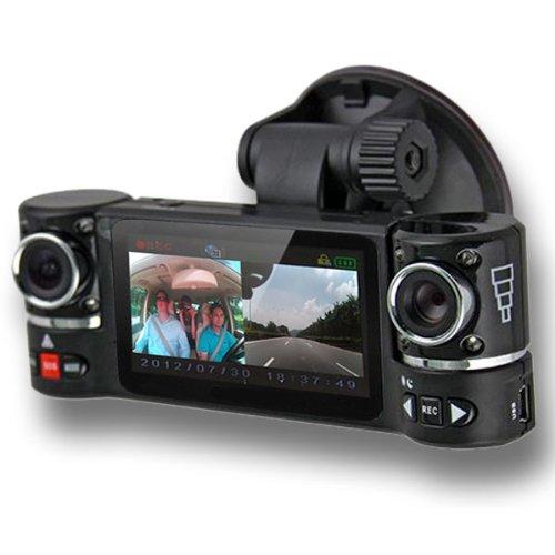"inDigi Dual Camera Rotated Lens Car DVR w/ 2.7"" Split LCD +"