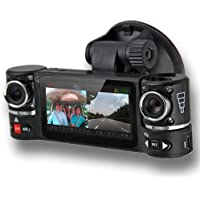 inDigi Dual Camera Rotated Lens Car DVR w/ 2.7 Split LCD + Night Vision + Motion Activate