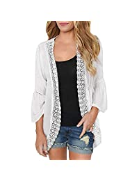 kingfansion Women's Lace Chiffon Cardigan Cover Up Loose Kimono Blouse Top